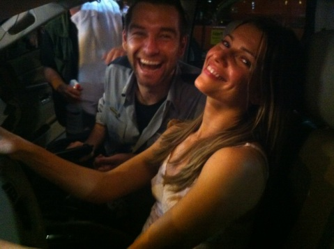 'Banshee' stars Antony Starr and Ivana Milicevic in a behind-the-scenes photo tweeted last month from the NC set by showrunner Greg Yaitanes. (photo: Greg Yaitanes Twitter)