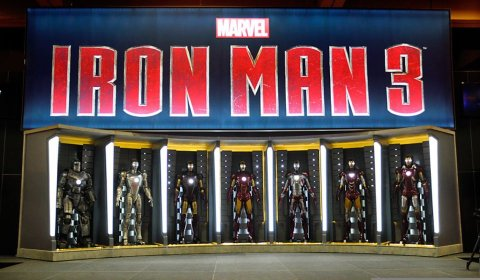 The Marvel booth at Comic-Con 2012 features the Hall of Armors from 'Iron Man 3'.