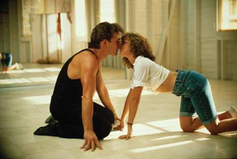 Patrick Swayze and Jennifer Grey on the NC set of 'Dirty Dancing' (1987).