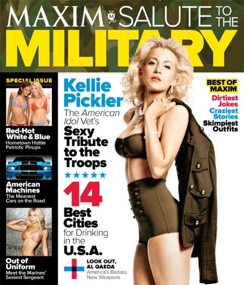 Albemarle, NC native Kellie Pickler on the cover of the 2012 Salute to the Military issue of Maxim Magazine.