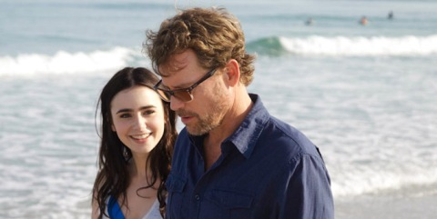 Lily Collins and Greg Kinnear on the NC set of 'Stuck in Love' (formerly 'Writers').