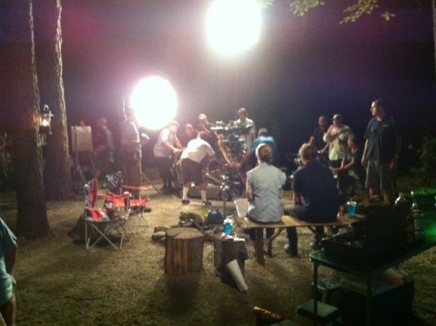 """""""First day of nights! Camping with the Fitzgeralds! #MillersMovie"""", tweeted by director Rawson Thurber."""