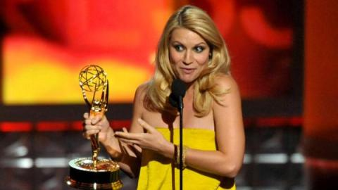 Claire Danes accepts the 2012 Emmy Award for Outstanding Lead Actress in a Drama Series for 'Homeland'. (photo: John Shearer/AP)