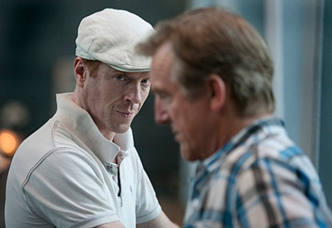 Damian Lewis eyes Jamey Sheridan's U.S. Vice President in a scene from Season 2 of 'Homeland'. (Photo: Kent Smith/Showtime)