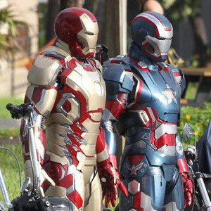 'Iron Man3' features upgraded suits armor in this new image from the Florida set this week. (photo: E! Online)