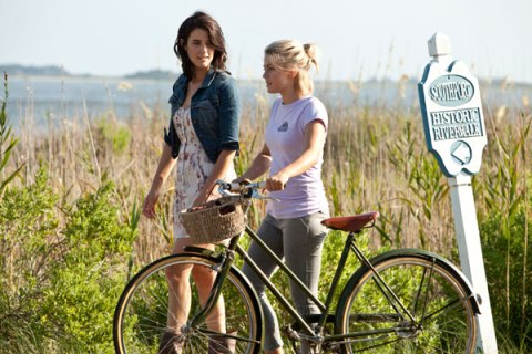 Cobie Smulders and Julianne Hough on the North Carolina set of 'Safe Haven'.