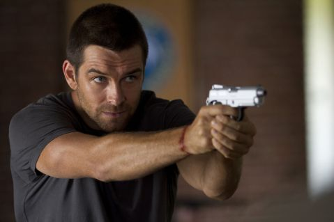 Antony Starr takes aim in 'Banshee', filmed in Charlotte, NC.