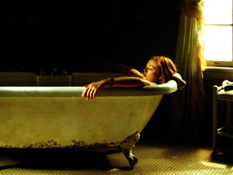 Sara Snook takes a bath in the thriller 'Jessabelle', filmed in Wilmington, NC.