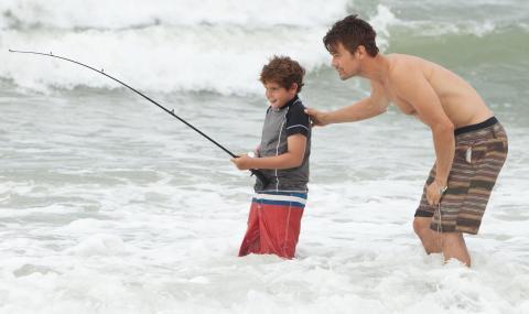 Josh Duhamel takes Noah Lomax fishing in 'Safe Haven', filmed and set in Southport, North Carolina.