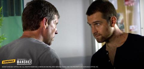 Rus Blackwell and Antony Starr share a tense face off in 'Banshee'