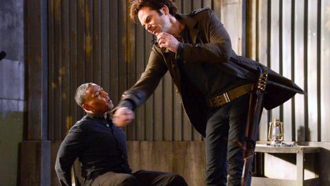 Billy Burke interrogates Giancarlo Esposito in a recent scene from 'Revolution', filmed in Wilmington, NC.