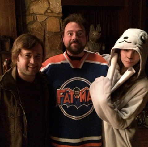 Haley Joel Osment, Kevin Smith, and Genesis Rodriguez on the Charlotte, North Carolina set of 'Tusk'.