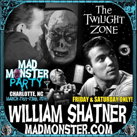 William Shatner is among the celebrity guests attending the Mad Monster Party convention in Charlotte, North Carolina, March 21-23, 2014.