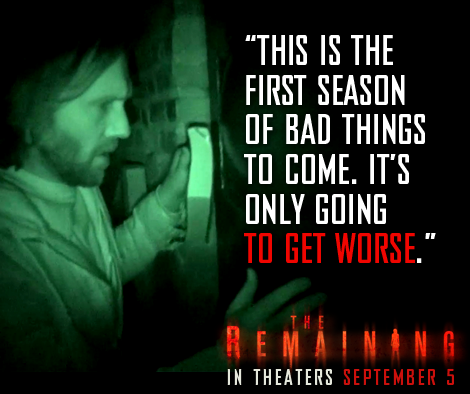 'The Remaining', filmed in Wilmington, North Carolina, opens on Sept. 5.
