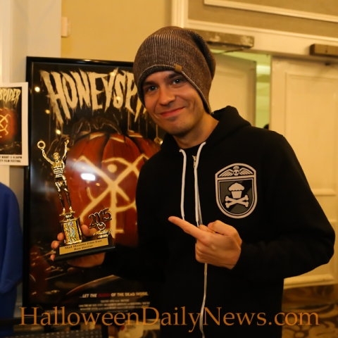 'Honeyspider' writer Kenny Caperton accepted the Best Horror award at the Mad Monster Party Film Festival in Charlotte, North Carolina, March 27-29, 2015. (photo by Matt Artz for HalloweenDailyNews.com)